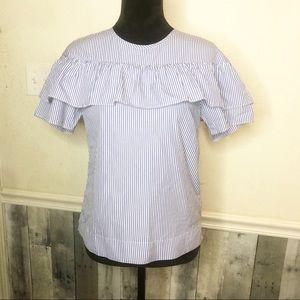 J. Crew pin striped ruffle blouse Size 2